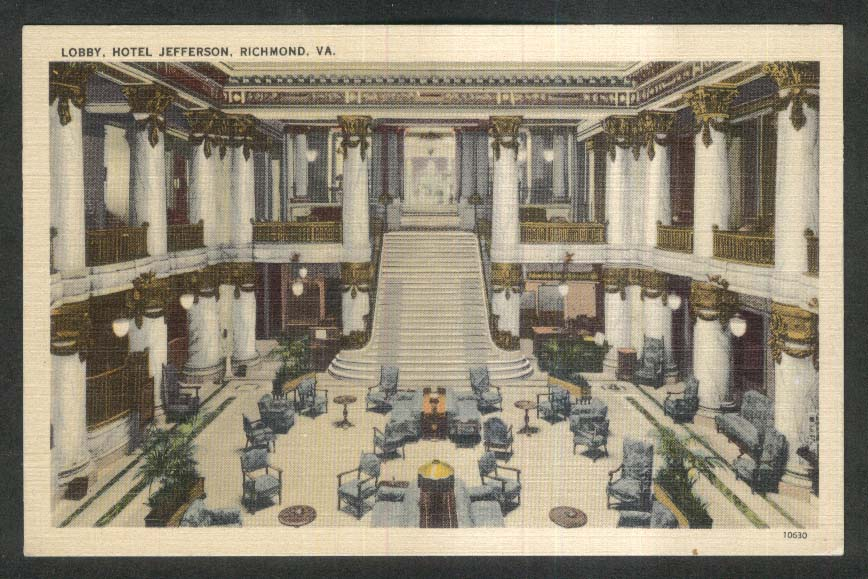 Main Lobby Hotel Jefferson Richmond VA postcard 1930s