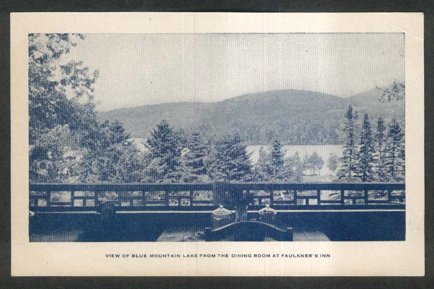 View of Blue Mountain Lake from Dining Room Faulkner's Inn NY postcard 1920s