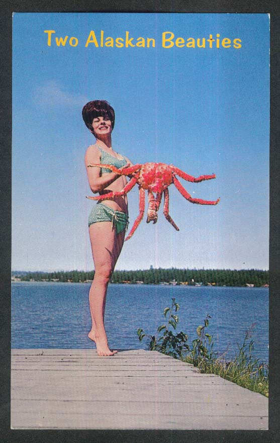 Two Beauties Alaskan King Crab postcard 1960s