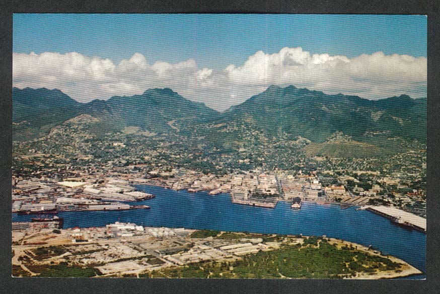 Honolulu Harbor Hawaii HI postcard 1950s
