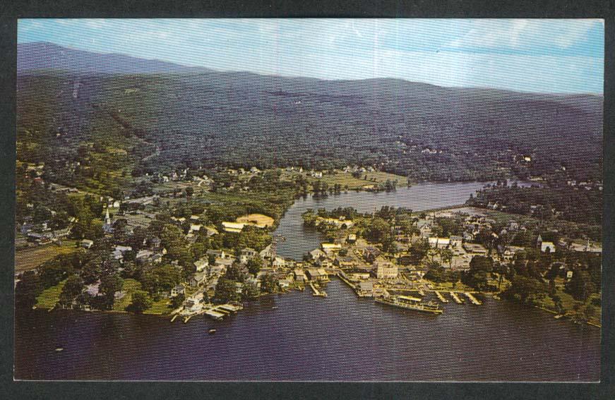 Aerial View M/V Mount Washington Lake Winnepesaukee Wolfeboro NH postcard 1950s