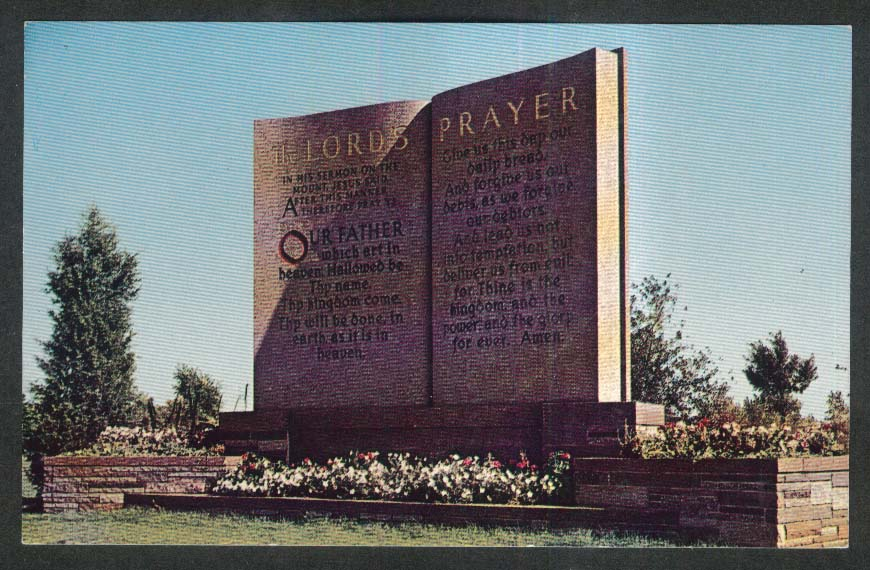 The Lord's Prayer Sunset Memorial Park Minneapolis MN postcard 1950s