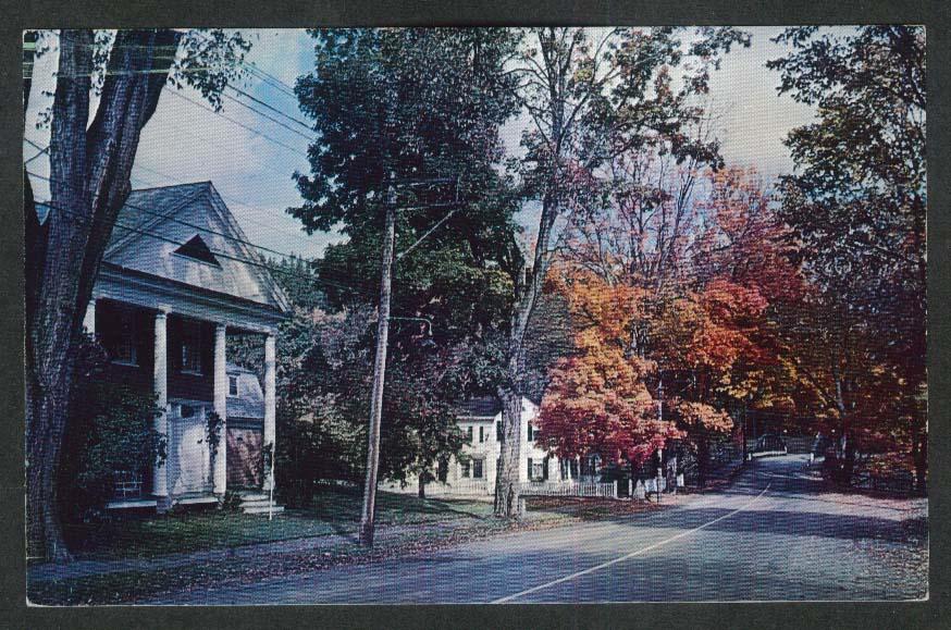 Elm Street Woodstock VT postcard 1950s