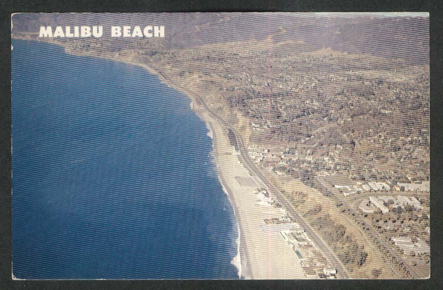 Aerial View of Malibu Beach CA postcard 1950s