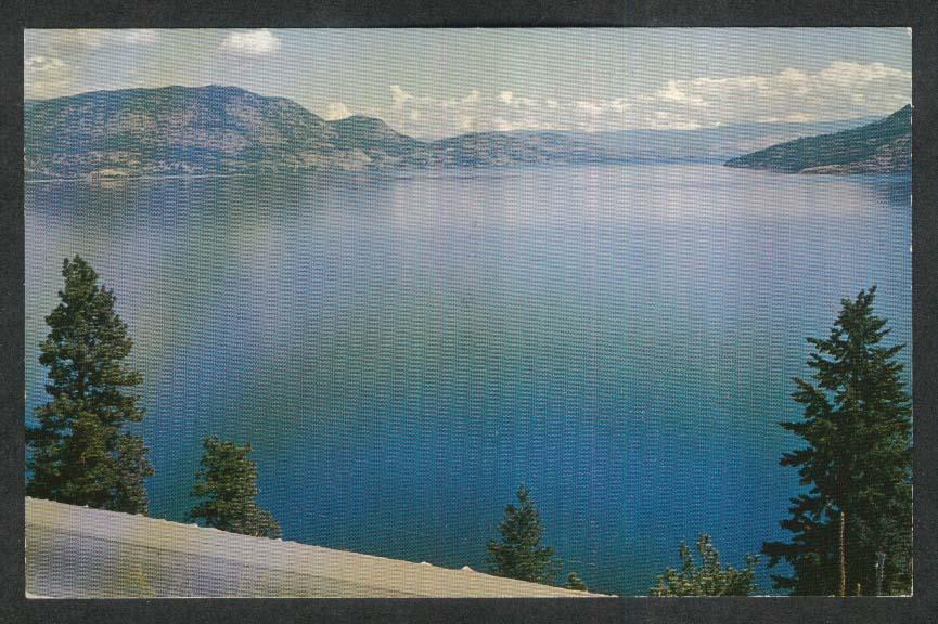 Okanagan Lake British Columbia Canada postcard 1950s