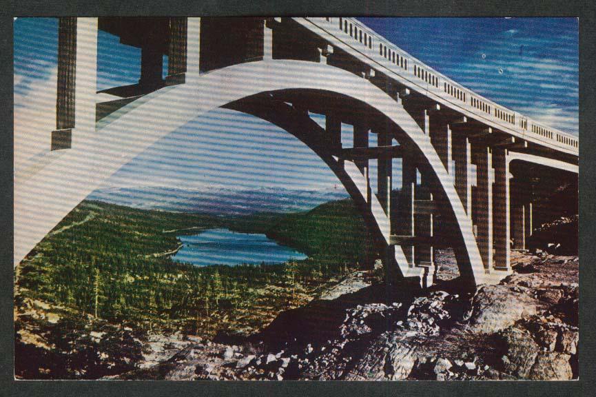 Donner Lake Sierra Nevadas CA postcard 1950s