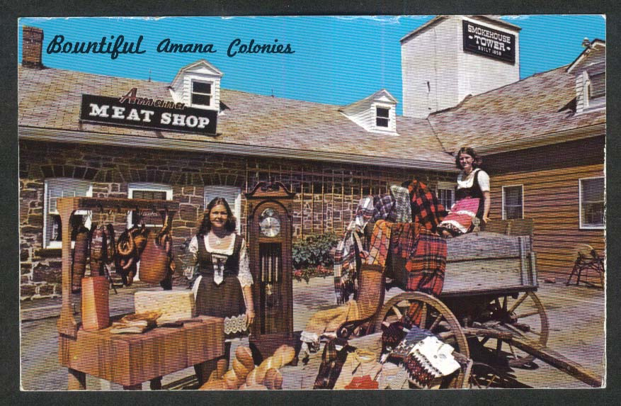 Amana Colonies Meat Shop Smokehouse Tower IA postcard 1960s