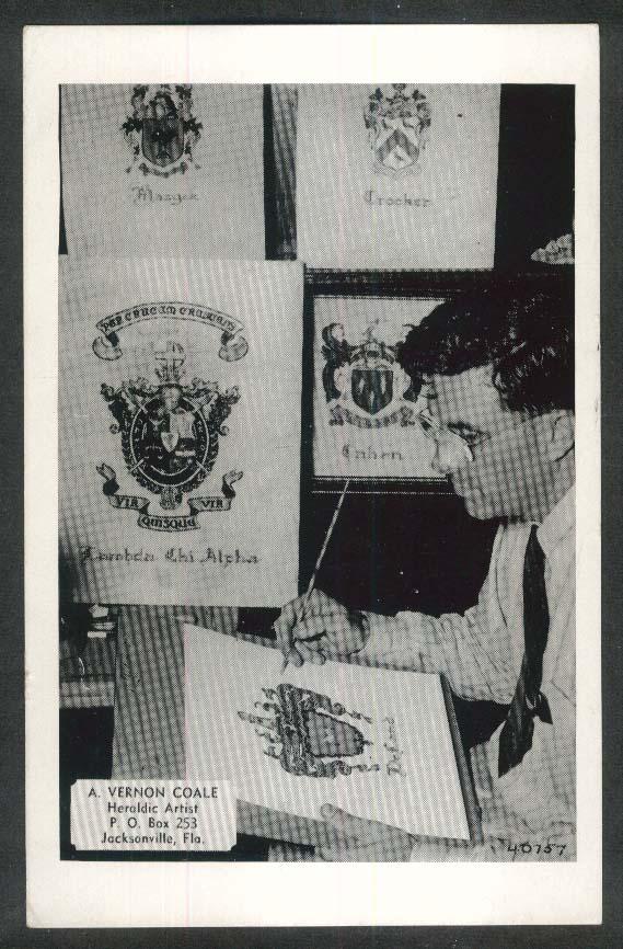 A Vernon Cole Heraldic Artist Jacksonville FL postcard