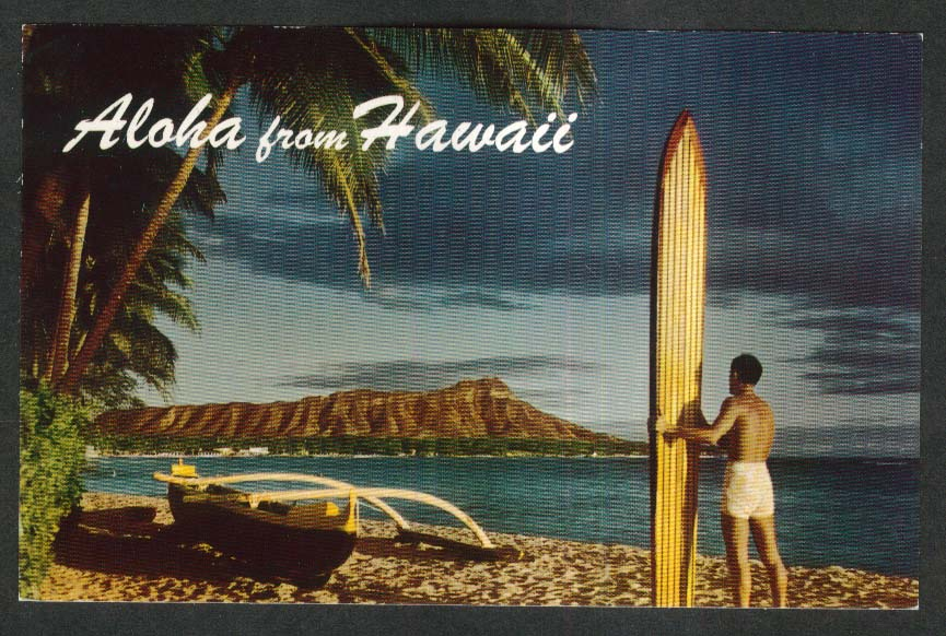 Outrigger & Diamond Head Waikiki HI postcard 1950s