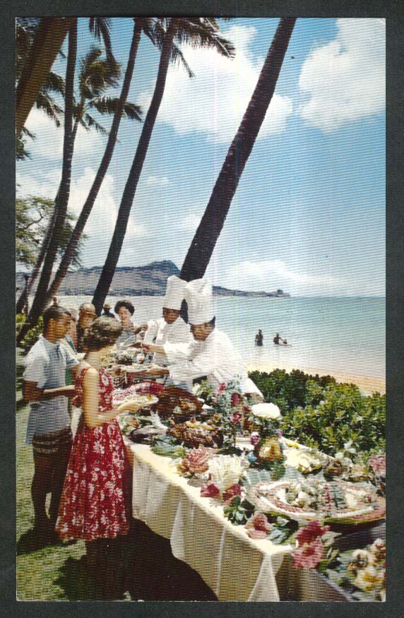 Halekulani Hotel Buffet Waikiki Beach Diamond Head Hawaii HI postcard 1950s