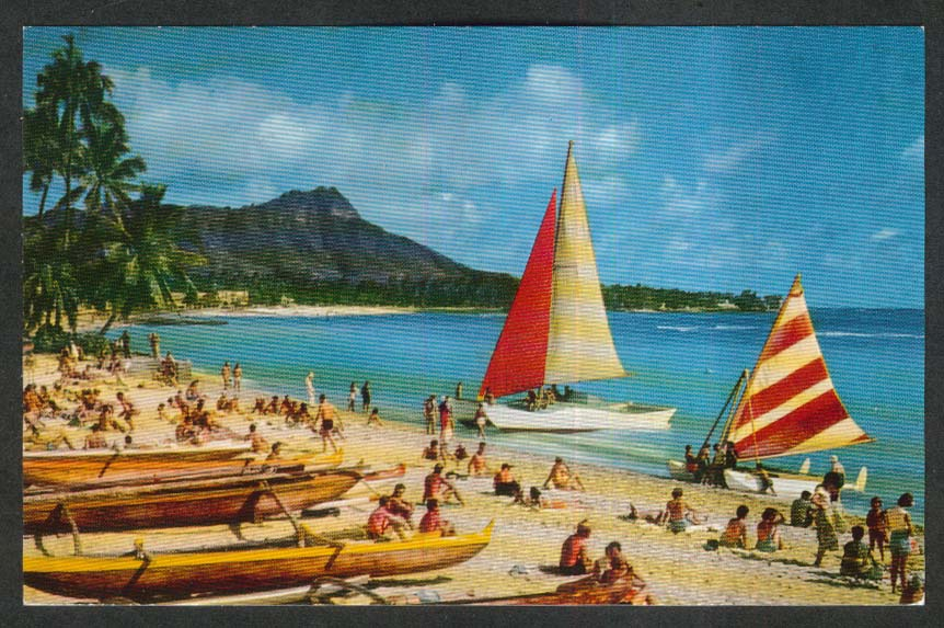 Outrigger & Catamaran Waikiki Beach Hawaii HI postcard 1950s