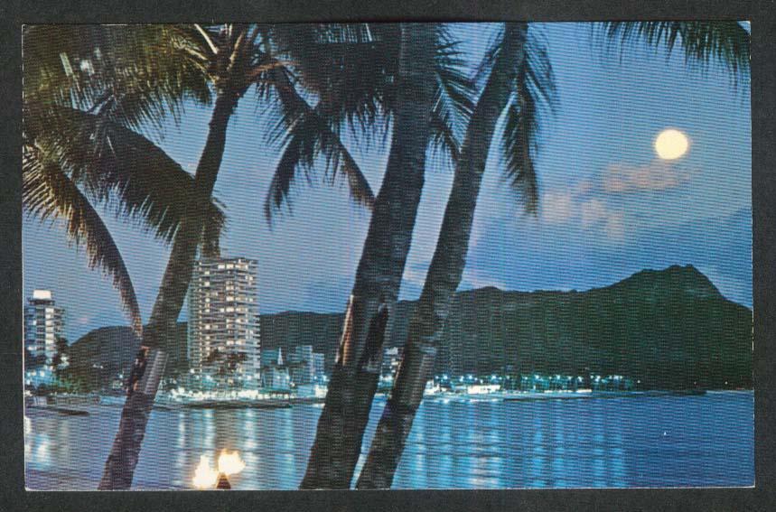 Eventide Waikiki Beach Diamond Head Honolulu HI postcard 1960s