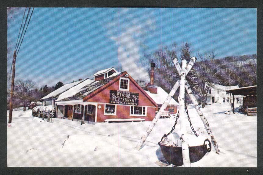 Snow Scene Gould's Sugar House Restaurant Shelburne Falls MA postcard 1960s