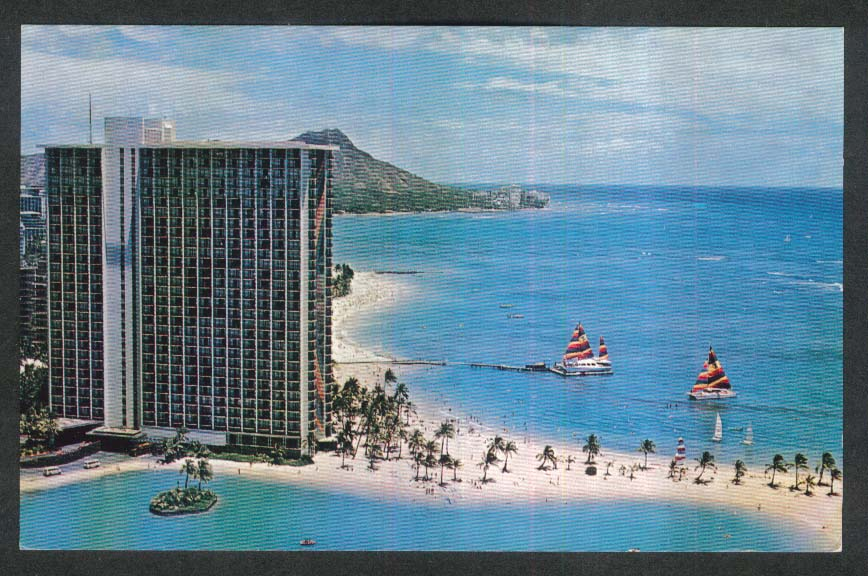 Catamaran at Hilton Hawaiian Village 2005 Kalia Road Honolulu HI postcard 1970s