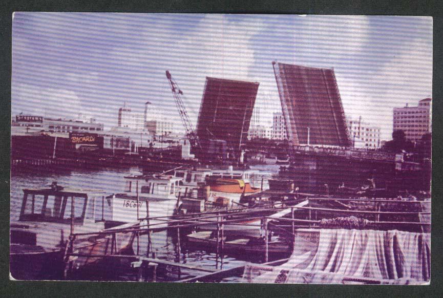 Barge Fish Fry Seagram's Bacardi Signs Miami River FL postcard 1950s
