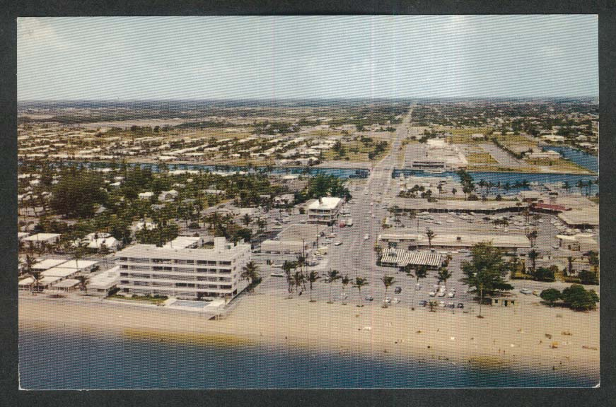 Oceanside Shopping Center Intercoastal Waterway Pompano Beach FL postcard 1950s