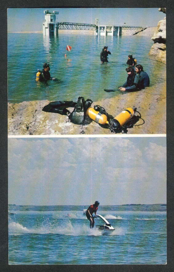 Scuba Jetski Water Sports Lake McConaughy NE postcard 1970s