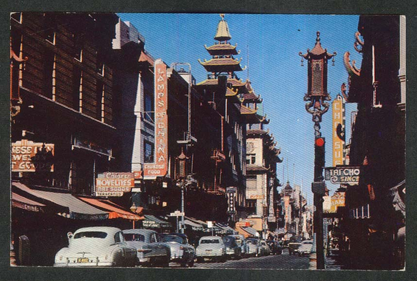 Lamps of China Chop Suey Grant Ave San Francisco Chinatown CA postcard 1950s