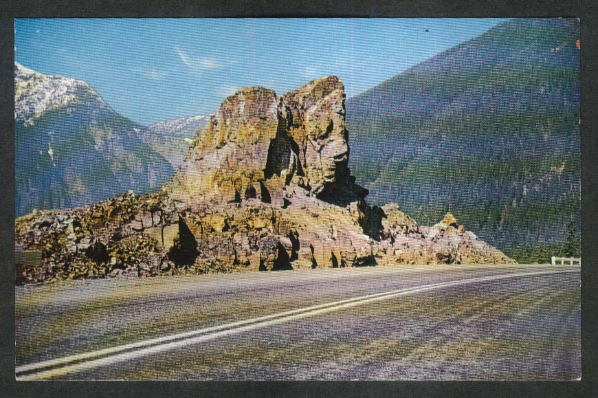 Sentinel on Hope Princeton Highway British Columbia Canada postcard 1950s