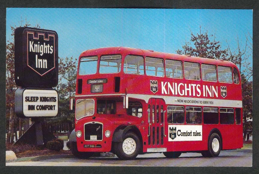 Knights Inn 1963 Bristol double-decker bus postcard 1980s