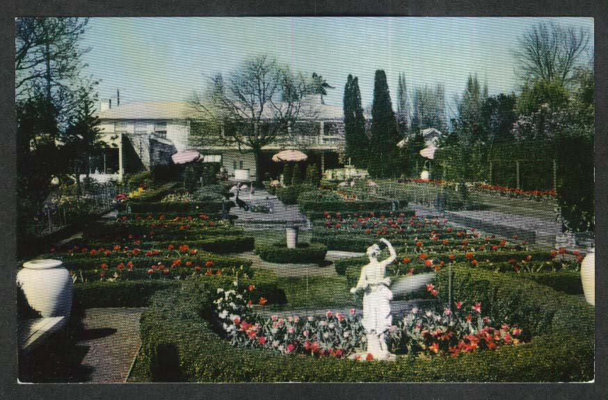 Italian Court & Spanish Gardens Lambert Gardens Portland OR postcard 1950s