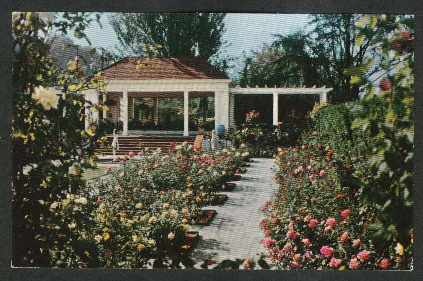 Mirrored Pergola Sunken Rose Garden Lambert Gardens Portland OR postcard 1950s