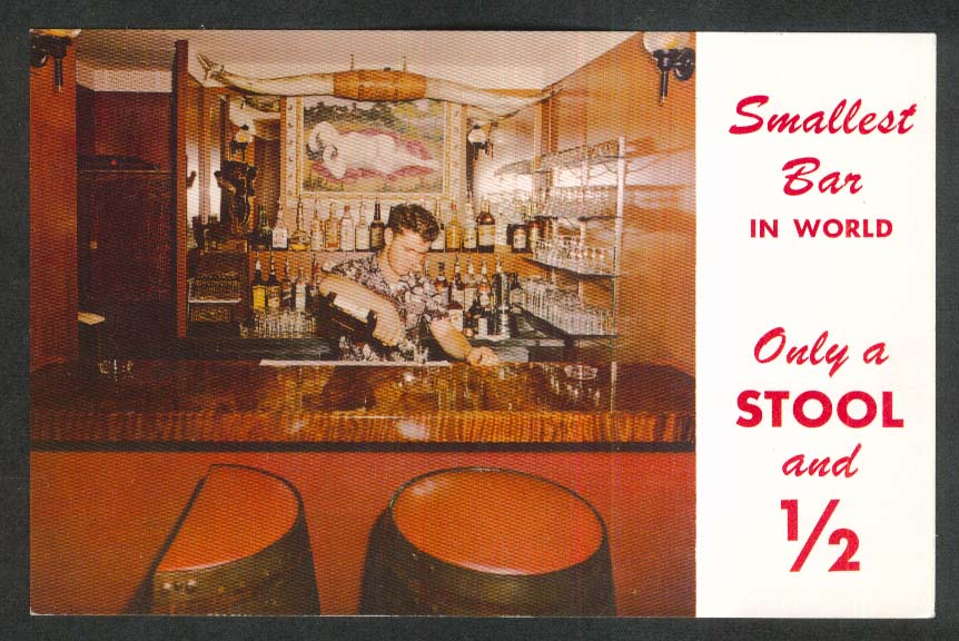 End of the Trail Smallest Bar in World Trees Motel CA postcard 1950s
