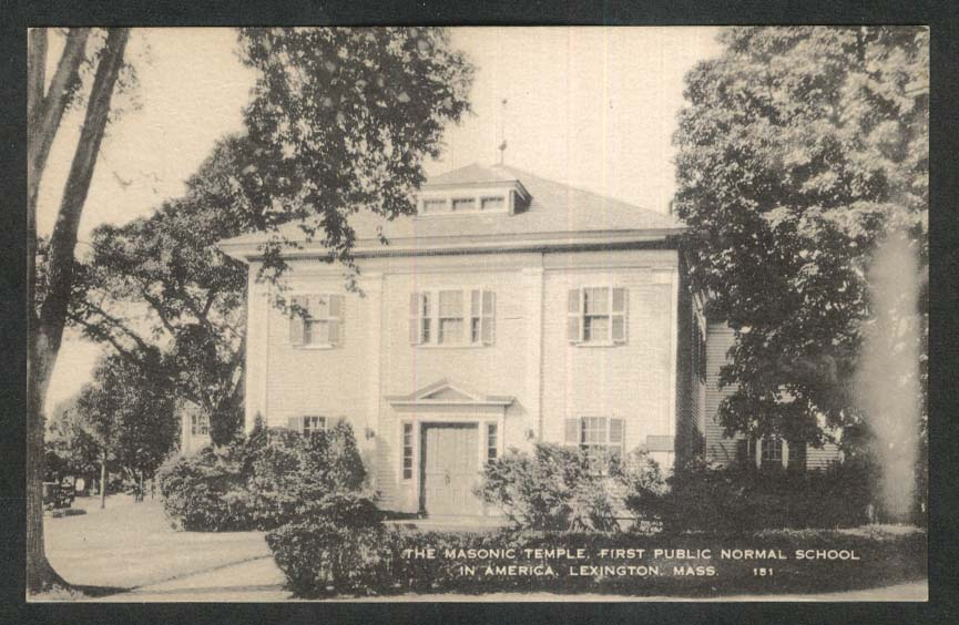 The Masonic Temple 1st Public Normal School Lexington MA postcard 1920s