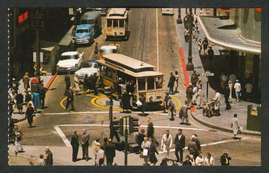 Powell & Market Turntable San Francisco Cable Cars CA postcard 1950s