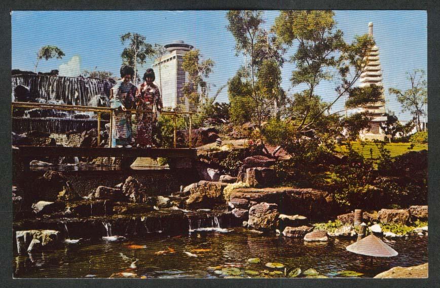 Garden Restaurant Pagoda Hotel 1525 Rycroft St Honolulu HI postcard 1950s