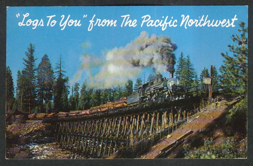 Log Train on Trestle Pacific Northwest postcard 1950s