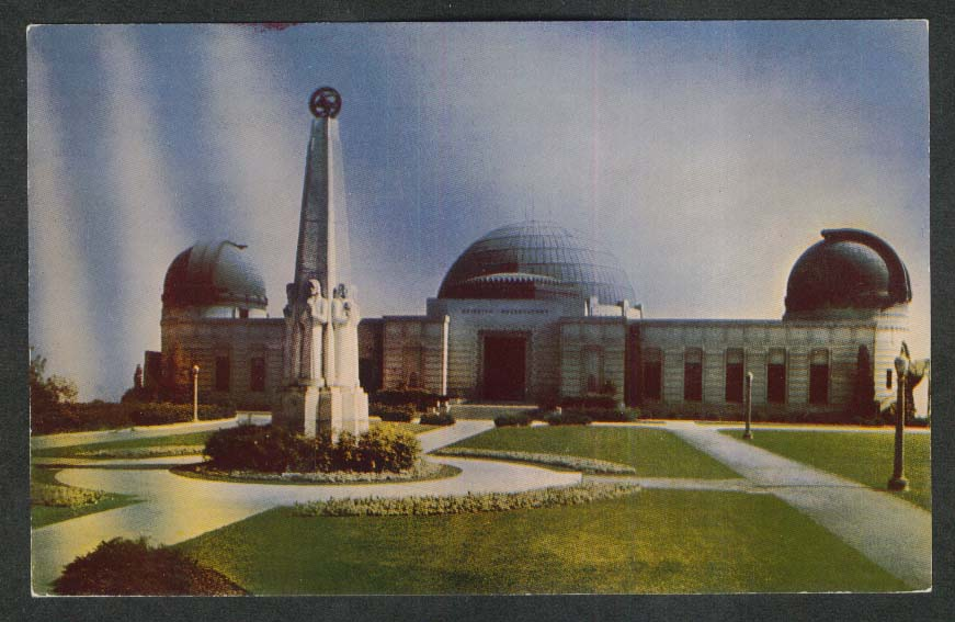 Griffith Observatory Mount Hollywood Los Angeles CA postcard 1950s