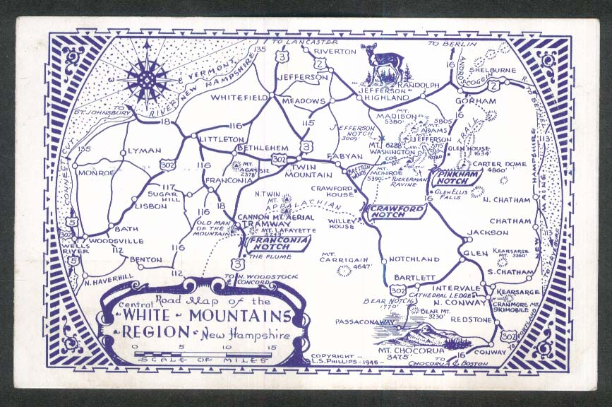 Road Map of the White Mountains Region NH postcard 1950s