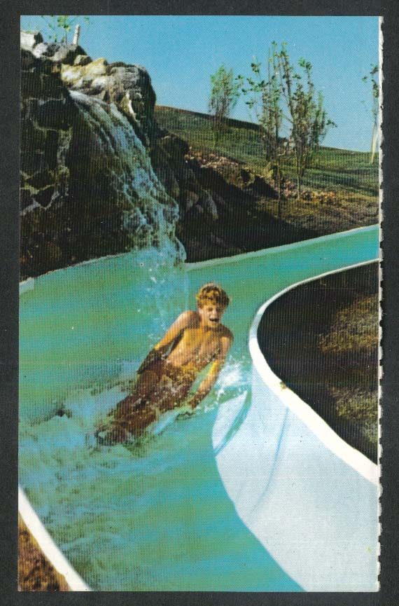 Darien Lake Fun Country Water Slide Corfu NY postcard 1970s
