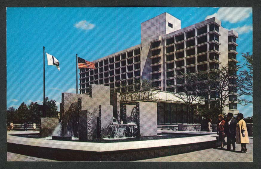 Fountains Constitution Plaza Hartford CT postcard 1960s