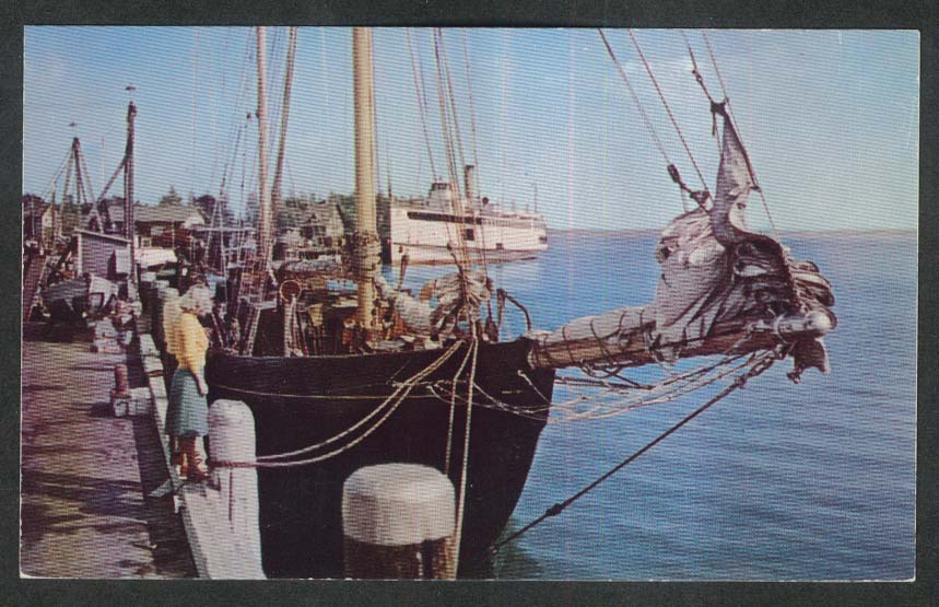 Steamer Nantucket at Woods Hole Cape Cod MA postcard 1950s