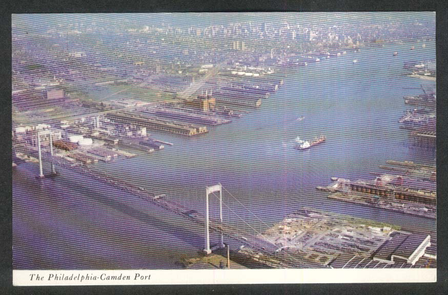 The Philadelphia-Camden Port Delaware River PA postcard 1960s