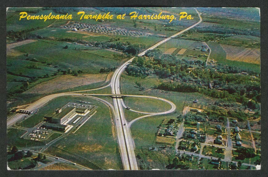 Pennsylvania Turnpike at Harrisburg PA postcard 1950s