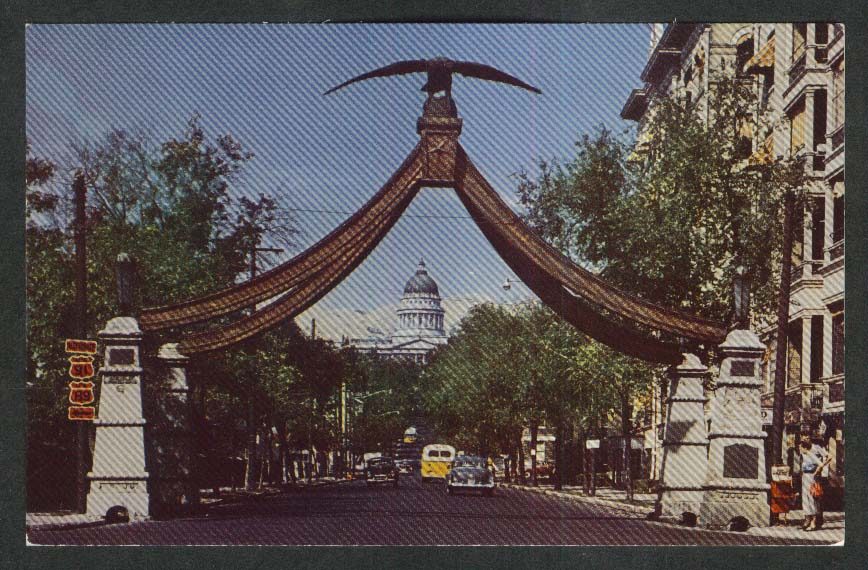 Eagle Gate Main Street Salt Lake City UT postcard 1950s