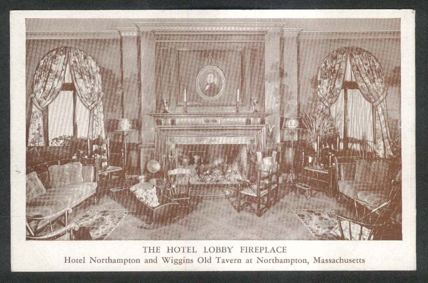 Lobby Fireplace Hotel Northampton & Wiggins Old Tavern MA postcard 1950s