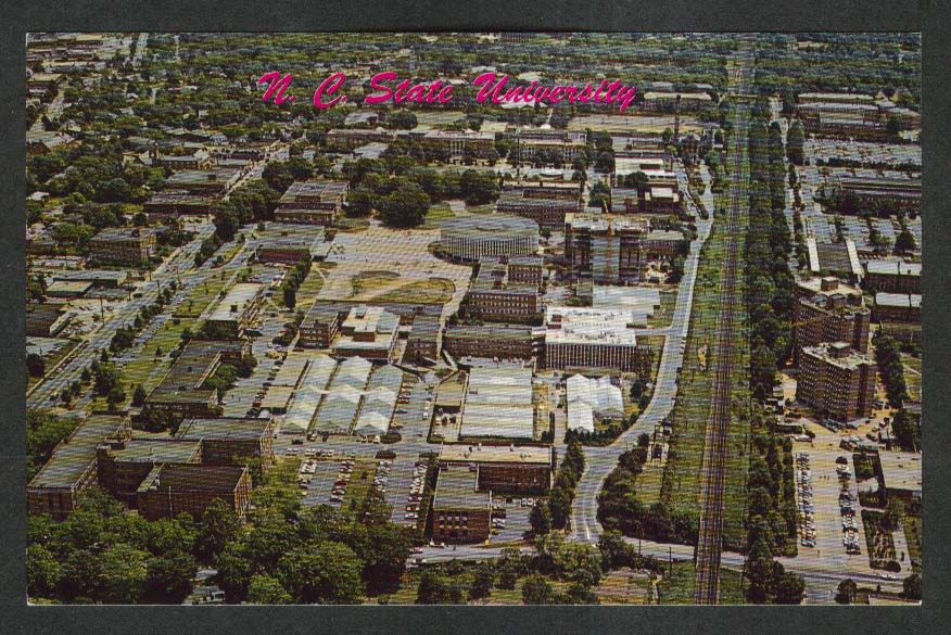 Aerial View North Carolina State University Campus Raleigh NC postcard 1960s