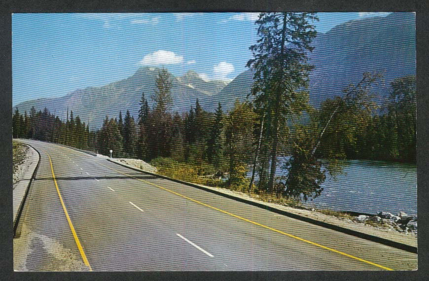 Rogers Pass Highway East of Revelstoke British Columbia Canada postcard 1960s