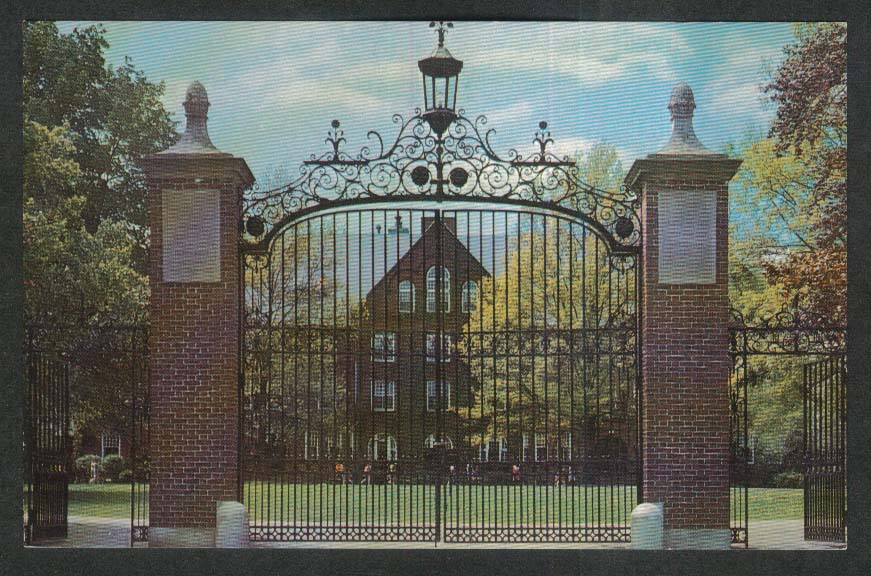 Main Gate Abbot Academy Girls Preparatory School Andover MA postcard 1960s