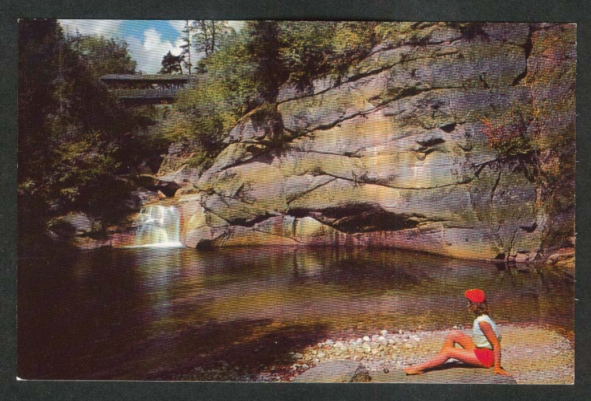 Pool & Sentinel Pine Bridge Franconia Notch NH postcard 1950s