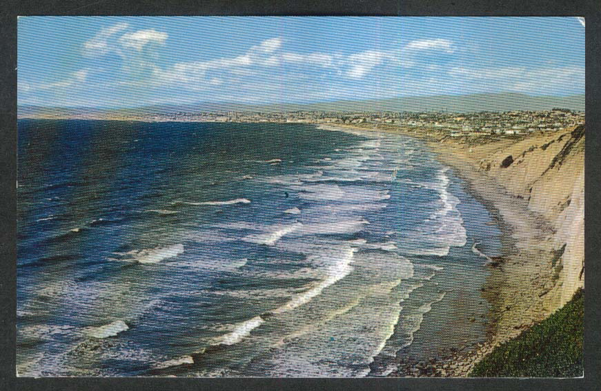 Santa Monica Bay Hermosa Manhattan Beach CA postcard 1960s