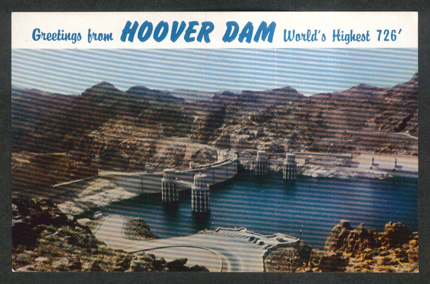 Upstream Face of Hoover Dam AZ postcard 1950s