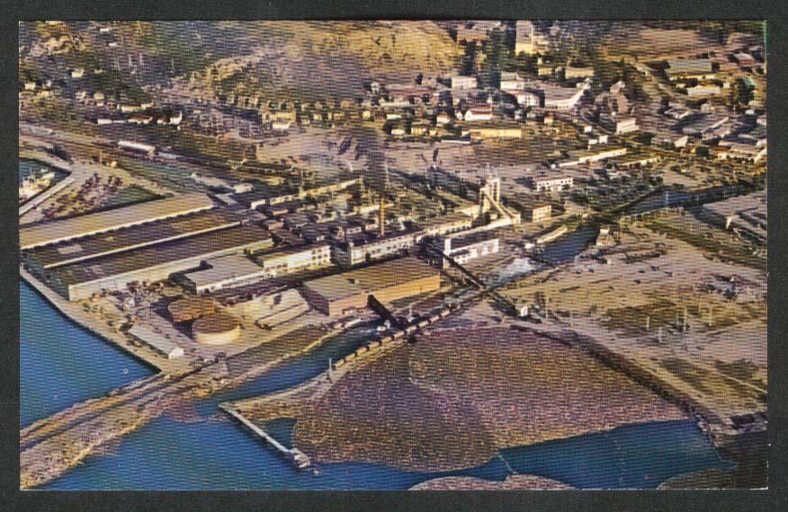 Pulp Paper Mills Bowaters Corner Brook Newfoundland Canada postcard 1960s