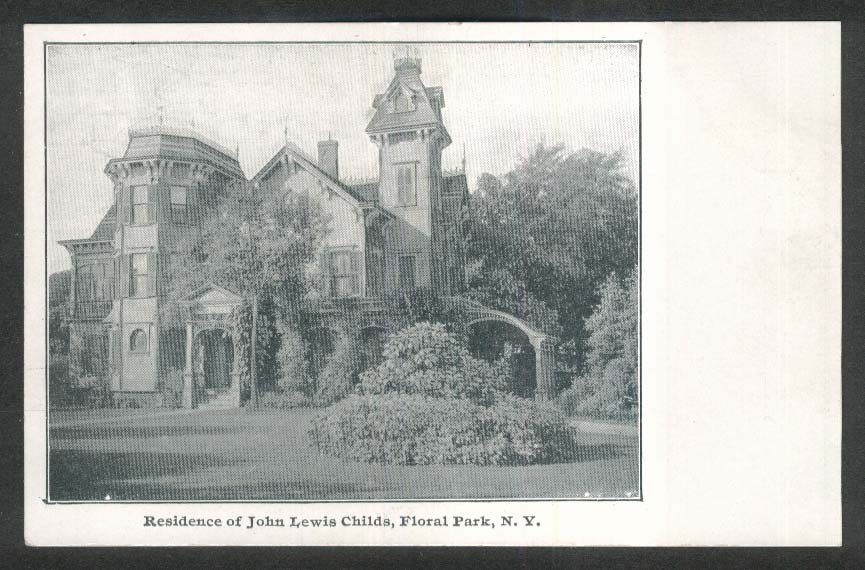 Residence of John Lewis Childs Floral Park NY undivided back postcard 1900s
