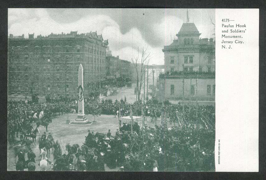 Paulus Hook & Soldiers Monument Jersey City NJ undivided back postcard 1900s