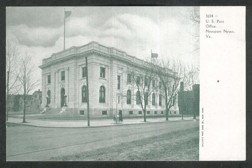 US Post Office Newport News VA undivided back postcard 1900s
